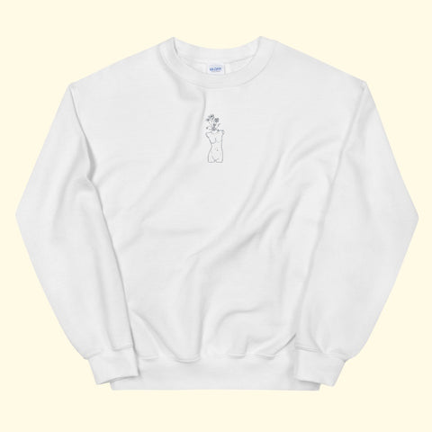 "white ""growth"" embroidered crewneck"