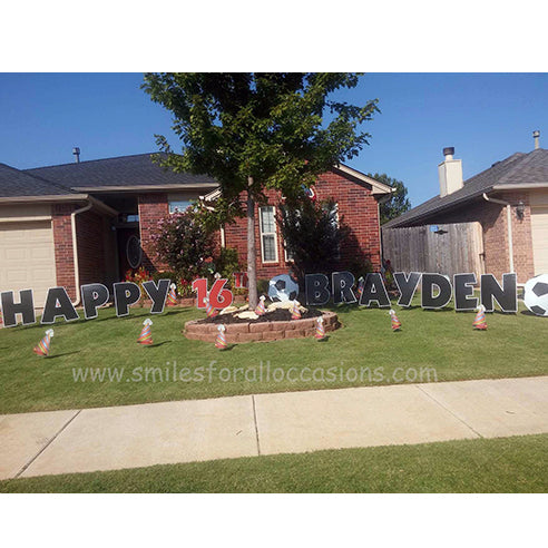 Large Black Letters Happy Birthday Red Number 16 Yard Signs