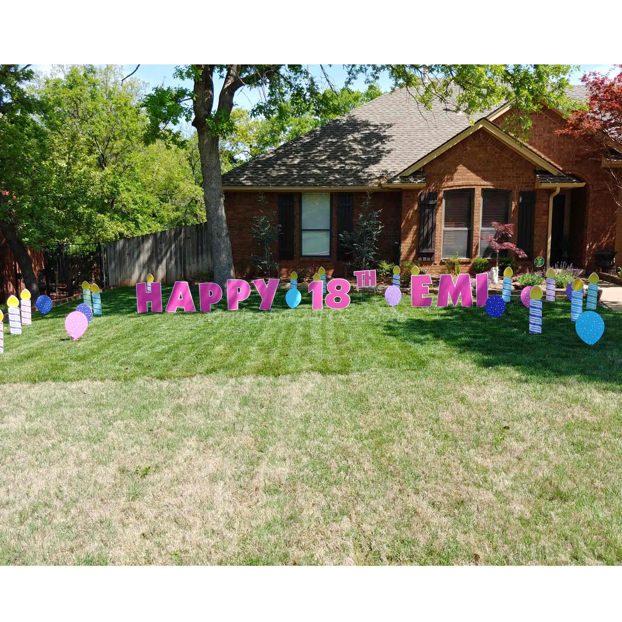 Birthday Yard Signs Candles 18th Balloons