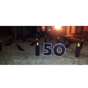 50th Black Sign with Candles and Black Crows