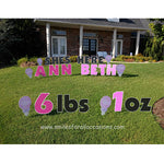 Yard Signs Baby Girl Announcement, Pink Lawn Letters and Numbers