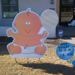 Large Baby Yard Sign with Blue Rattles