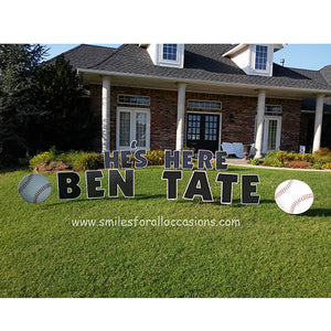 Lawn Letters in Yard with Baseball Signs