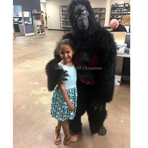 Singing Gorilla in Bikini with Small Girl