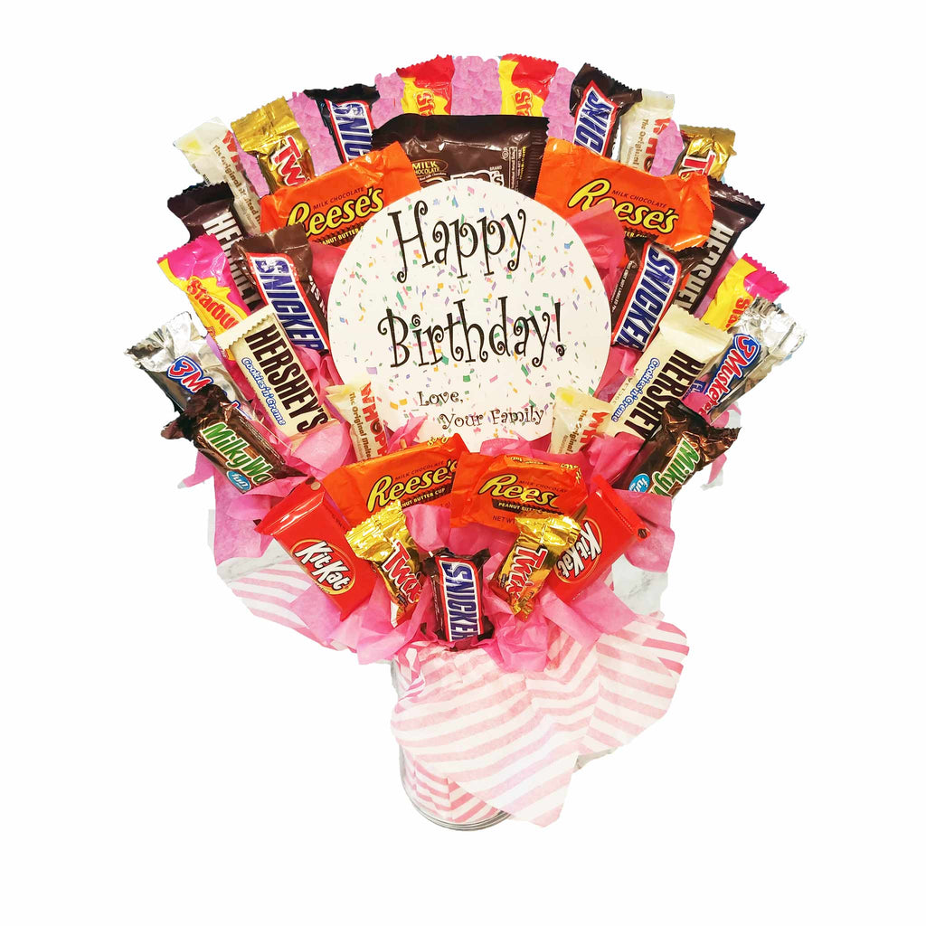 Candy Bouquet Reusable Vase - Skittles Hershey M&M Reeses