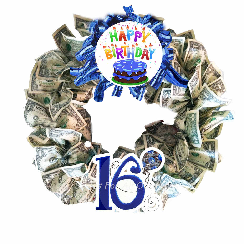 cash money wreath 16 boys birthday