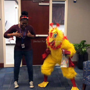 Chicken Dancing with Woman on Valentines Day