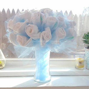 Blue Diaper Bouquet in front of a Window