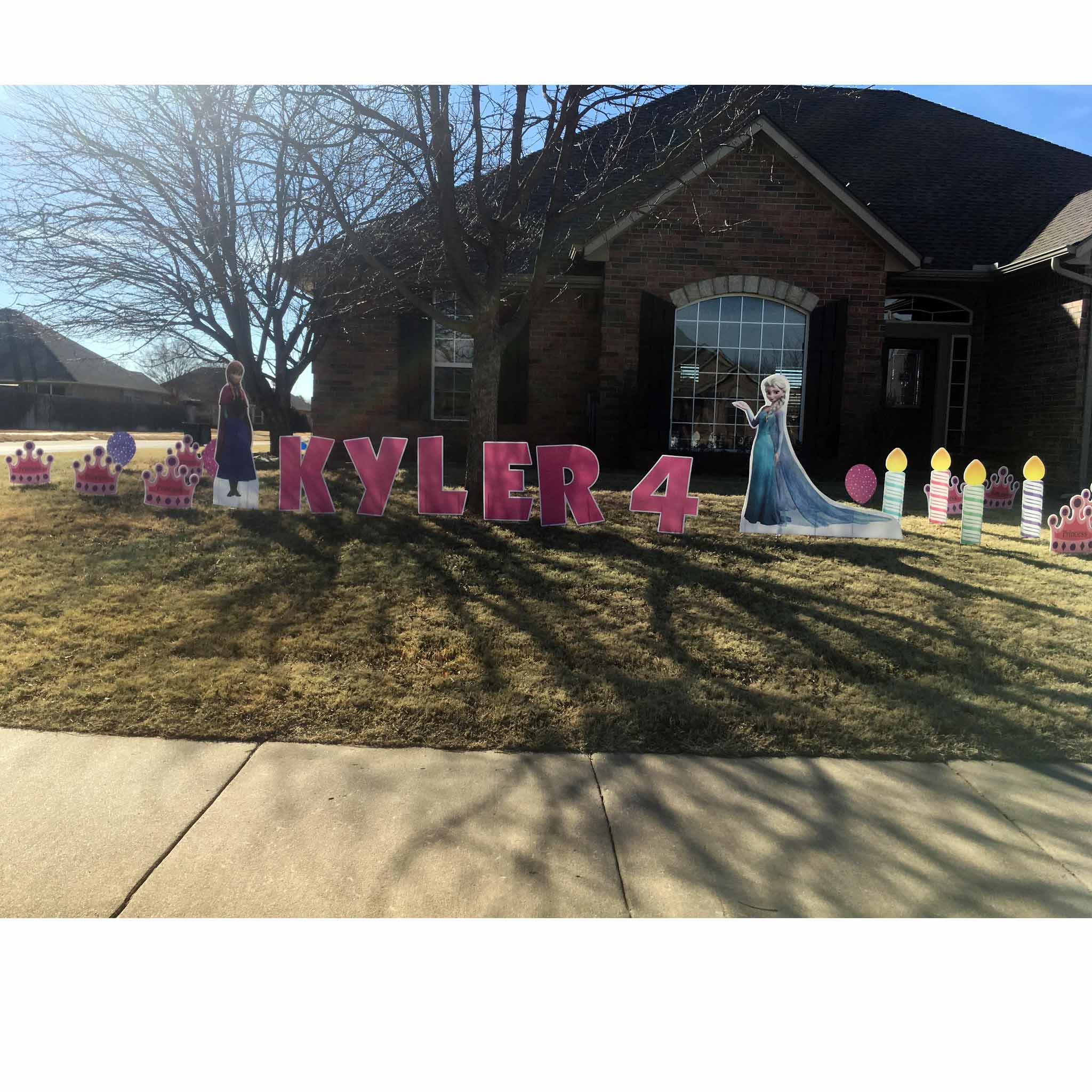 Elsa and Ana Large Yard Signs - Birthday Candle in Front Yard