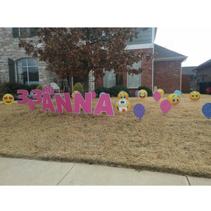 Pink Lawn Letters Emojis Colorful Balloons Birthday