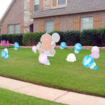 Big Yard Sign Baby Holding a Rattle - Blue and Pink Rattles in Front Yard- baby Butts