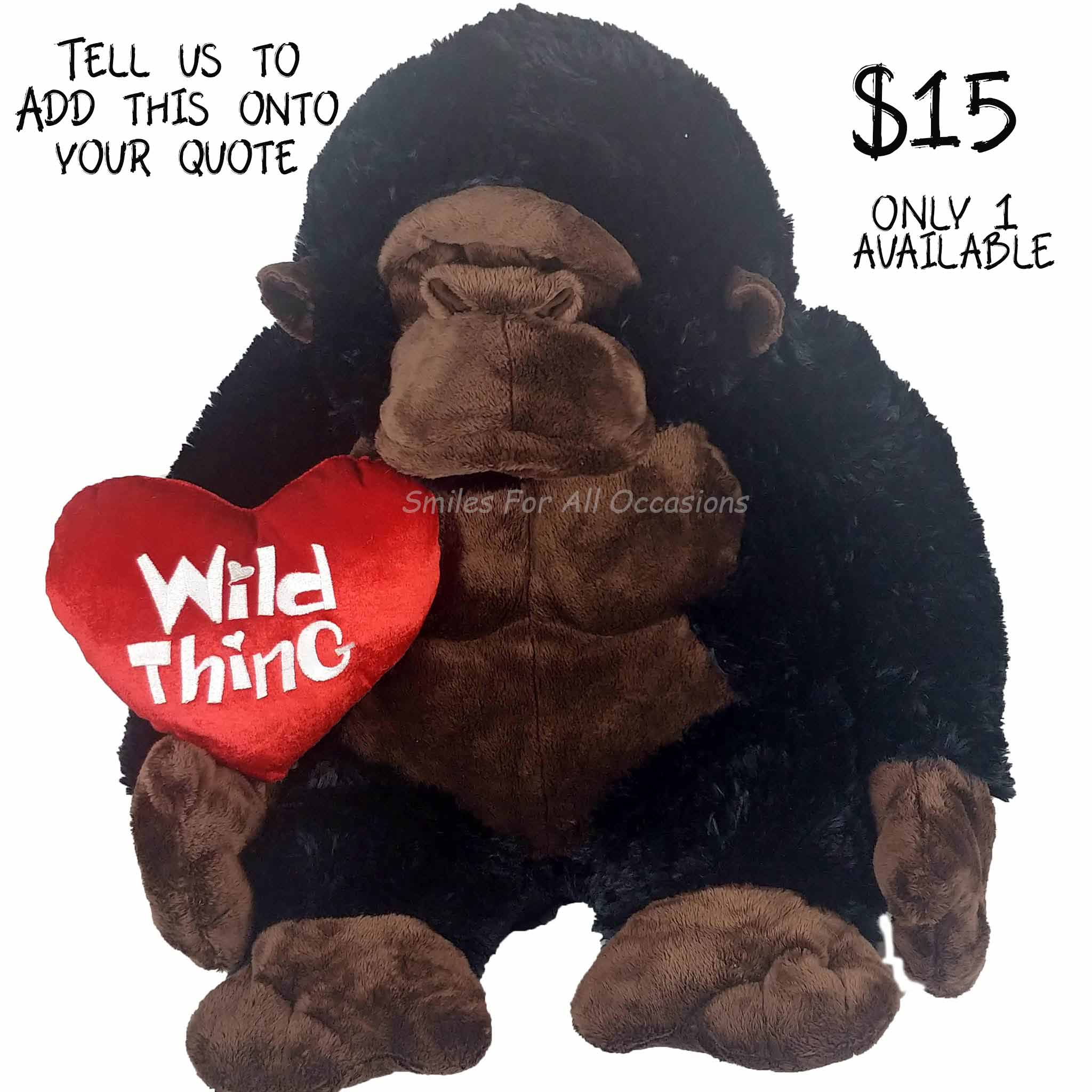 Plush Gorilla with Wild Thing Heart