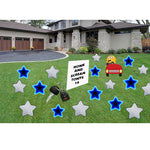 Honk and Scream Sign Yard Sign Stars Keys and Emoji in Car