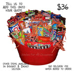 Red Bucket with Candy M&M Crunch Butterfinger Hersheys