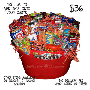 Candy in Red Bucket Gift Basket