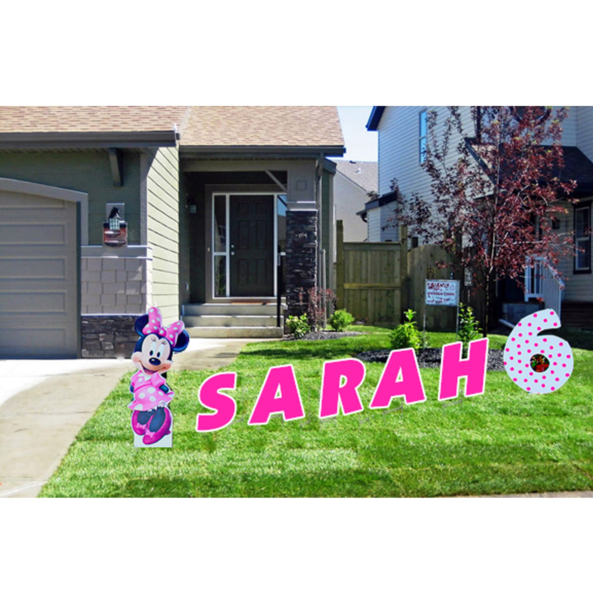 Minnie Mouse Yard Signs - Pink Lawn Letters in Front Yard