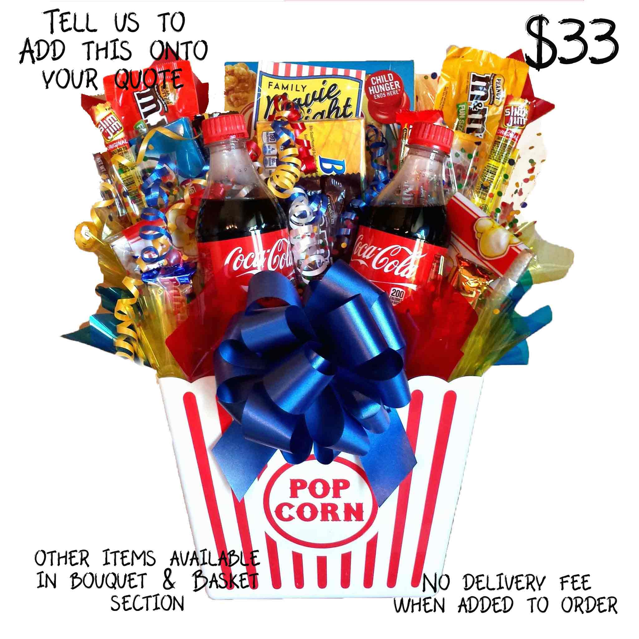 Popcorn Bucket Filled with Snacks and Sodas Movies