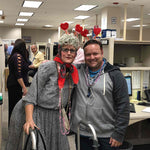 Old Lady Standing with Man with Valentine Headbands
