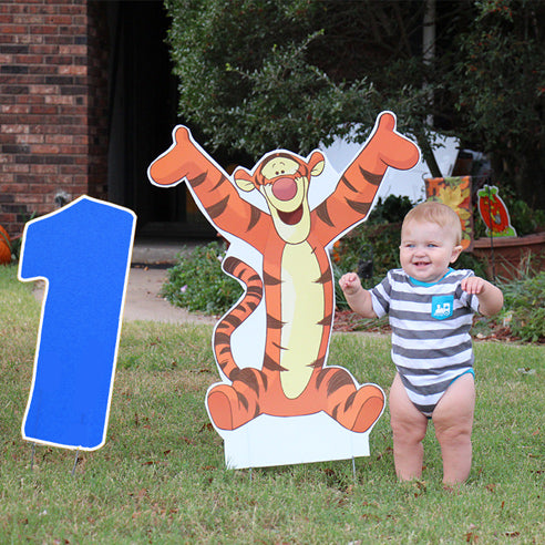Tiger Yard Signs - Number 1 Blue Lawn Number
