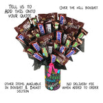 Over The Hill Candy Bouquet, Black Candy, Snickers, Milky Way, Hersheys
