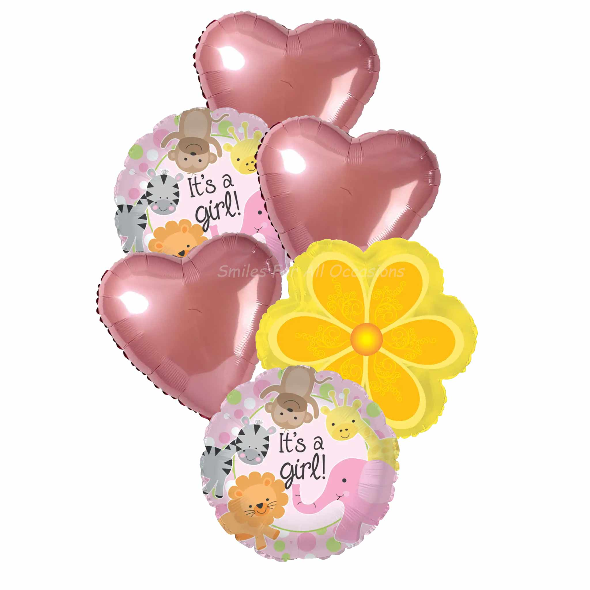 6 It's A Girl Pink Balloons, Pink Hearts, Yellow Flower Balloons
