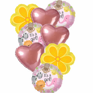9 It's A Girl Pink Balloons, Pink Hearts, Yellow Flower Balloons