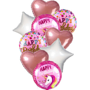 Pink Unicorn Theme Birthday Mylar Balloons