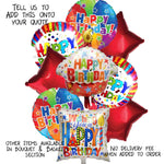 9 Red Birthday Balloons, Stars and Circles Request Quote
