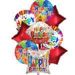 Red Theme Birthday Mylar Balloons