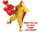 Chicken with Red Balloons Laugh and Smile