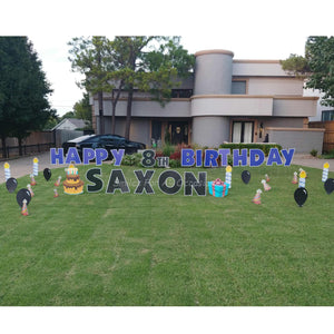 Yard Signs Blue and Black Letters with Birthday Cake, Candles and Black Balloons