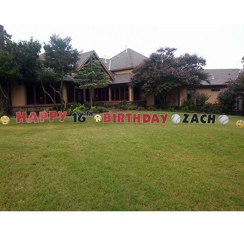Happy Birthday Red Signs 16th Birthday in Yard with Baseball Signs and Emojis