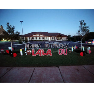 Lawn Letters OU Signs, Football Birthday Yard Signs with Candles