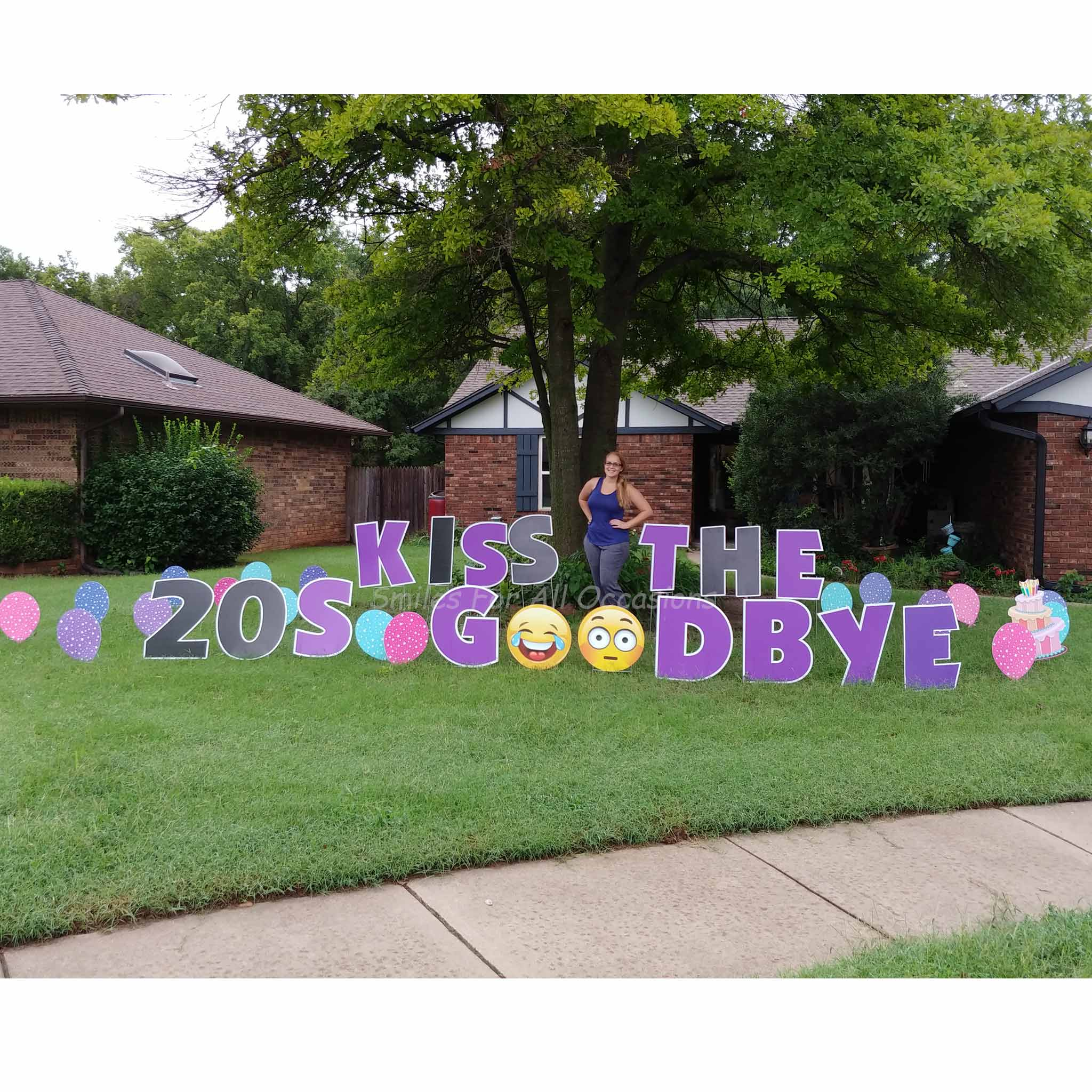 30th Birthday Purple Yard Signs Emojis And Balloons