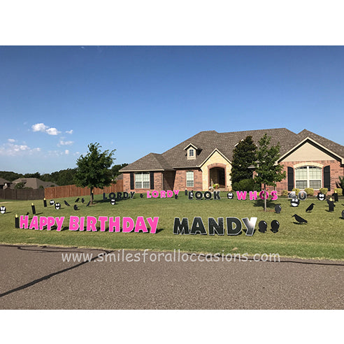 Happy Birthday Yard Signs with Black Balloons, Crows, Large Letters Lordy Lordy