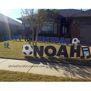 Soccer Outdoor Signs Happy Birthday Blue Letters