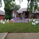 Happy 16th Birthday Purple Large Letter Signs, Cupcakes and Car Keys