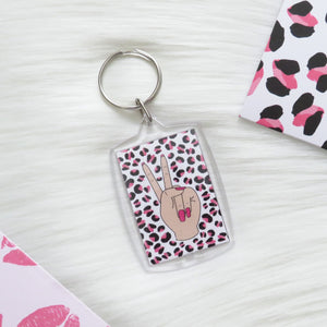 Leopard Print Peace Sign Keychain