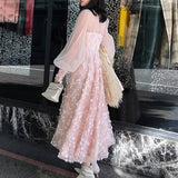 Mesh Dresses Female Stand Collar Long Sleeve High Waist Patchwork Sequins Beading Dress Female 2019 Spring Autumn