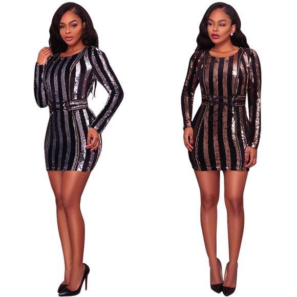 Long Sleeve Mini Sequin Striped Bodycon Dress