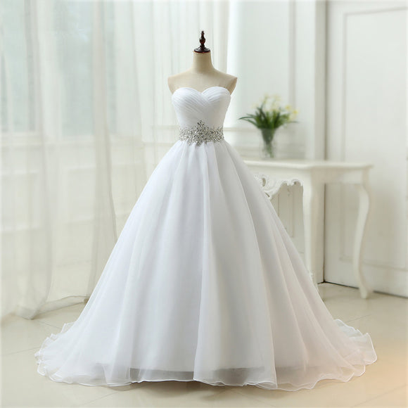 White Vestido De Noiva New Design A line Perfect Belt Robe De Mariage Strapless Lace Up Wedding Dresses