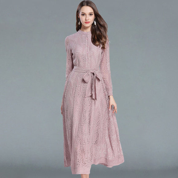 Bow Maxi Lace Dress Slim Fashion O-neck Sexy Hollow Out Work Casual Dresses Women A-line Vintage Vestido