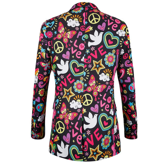 Mens Slim Fit Print Floral Suits Blazer