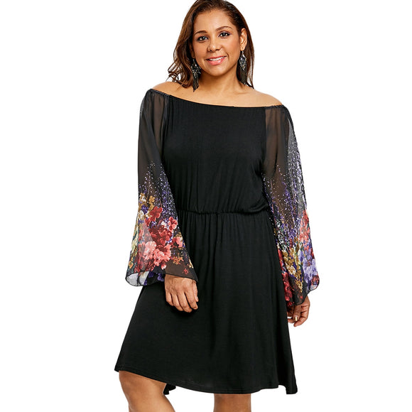 Plus Size Flower Printed Party Dress