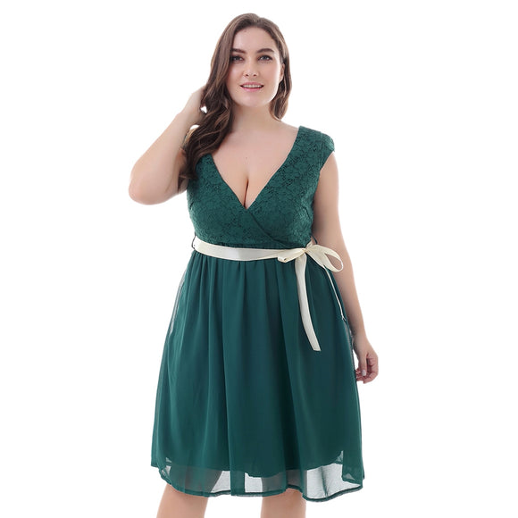 Plunge Neck Cap Sleeve Backless Lace Plus Size Belted Women Dress