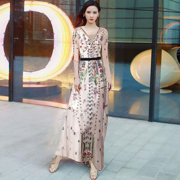 2019 Spring Summer V-Neck Allover Tulle Mesh Embroidery 3/4 Sleeve Maxi Dress