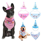 Pet Birthday Headwear Cap and Bib Accessories