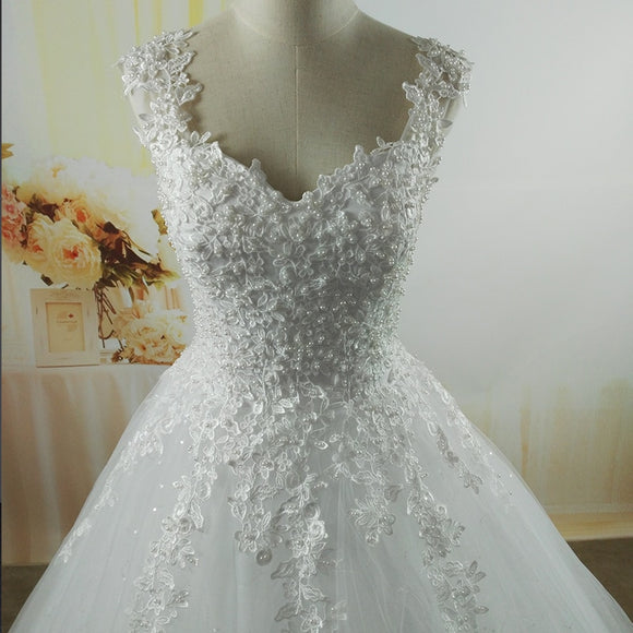 Tulle and Pearls Wedding Dress