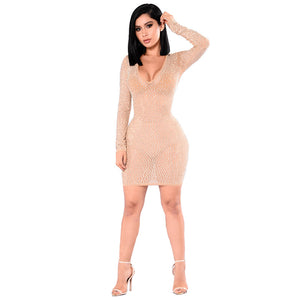 Mesh Perspective Hot Drilling V-neck Sexy Dress