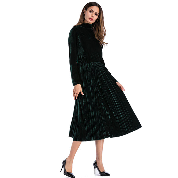 Autumn Dress Women 2018 Casual Vintage Solid Long Sleeve Velvet Dress